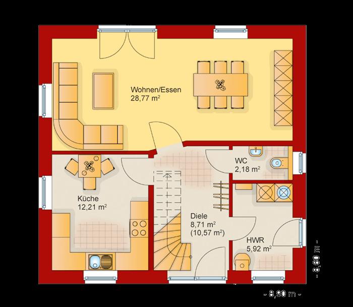 Der Grundriss vom Erdgeschoss des Familienhaus 120