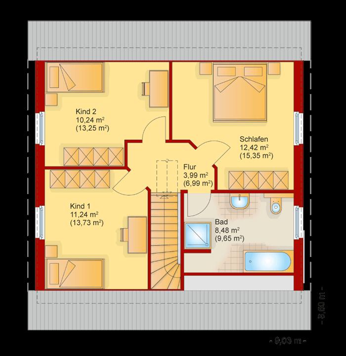 Der Grundriss vom Obergeschoss des Familienhaus 120