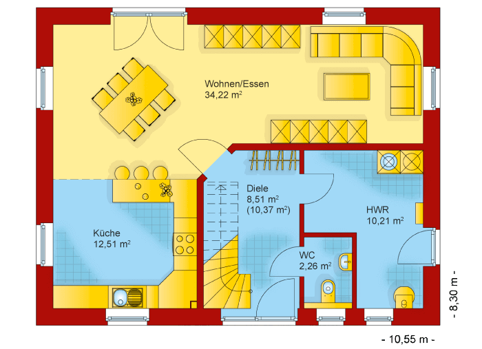 Der Grundriss vom Erdgeschoss des Familienhaus 140
