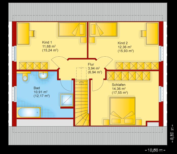 Der Grundriss vom Obergeschoss des Familienhaus 140