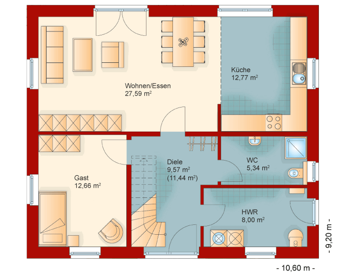 Der Grundriss vom Erdgeschoss des Familienhaus 160
