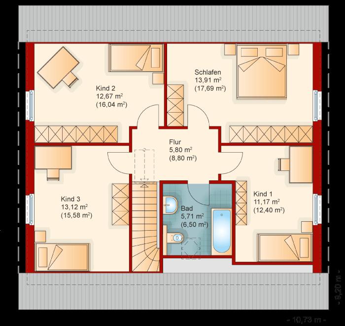 Der Grundriss vom Obergeschoss des Familienhaus 160