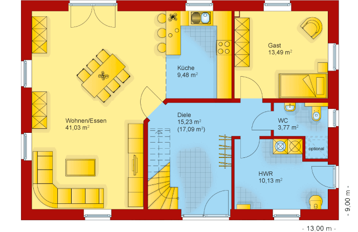 Der Grundriss vom Erdgeschoss des Familienhaus 190