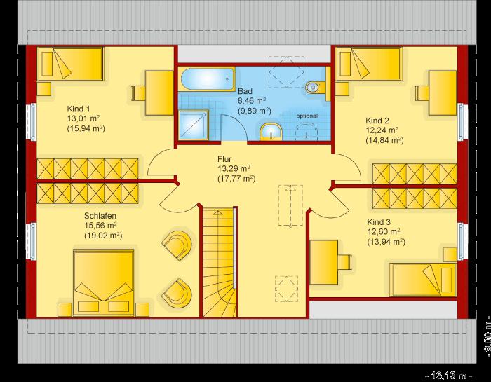 Der Grundriss vom Obergeschoss des Familienhaus 190