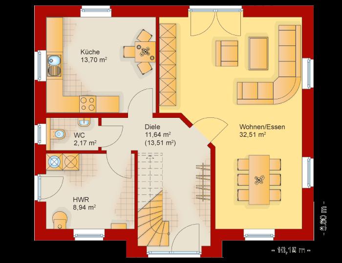 Der Grundriss vom Erdgeschoss des Friesenhaus Kapitaenshaus 145