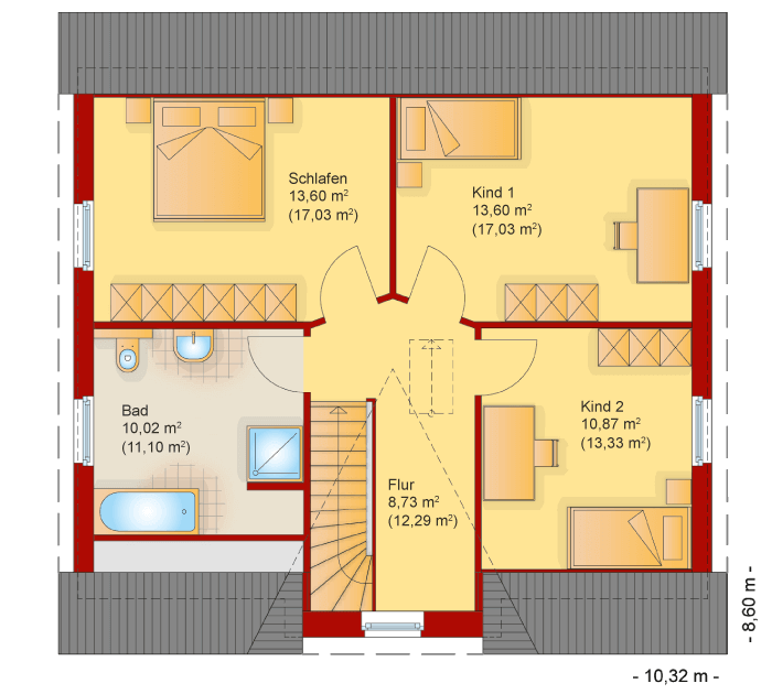 Der Grundriss vom Obergeschoss des Friesenhaus Kapitaenshaus 145