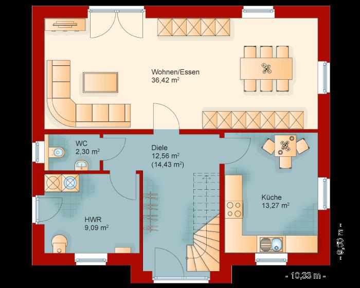 Der Grundriss vom Erdgeschoss des Friesenhaus Kapitaenshaus 155