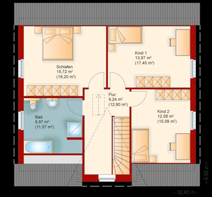 Der Grundriss vom Obergeschoss des Friesenhaus Kapitaenshaus 155