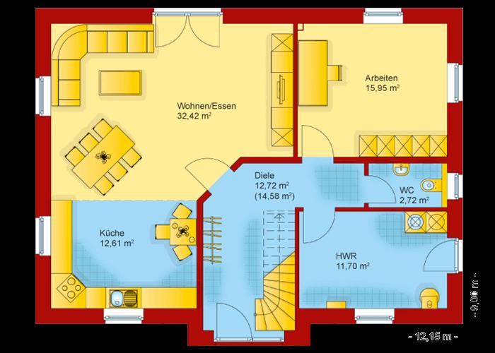 Der Grundriss vom Erdgeschoss des Friesenhaus Kapitaenshaus 180