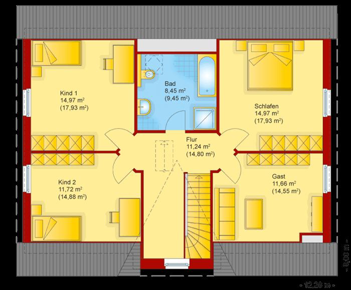 Der Grundriss vom Obergeschoss des Friesenhaus Kapitaenshaus 180