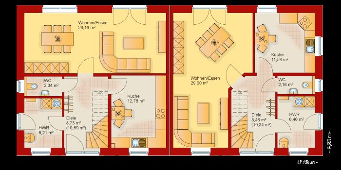 Der Grundriss vom Erdgeschoss vom Doppelhaus 120