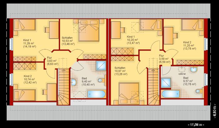 Der Grundriss vom Obergeschoss vom Doppelhaus 120