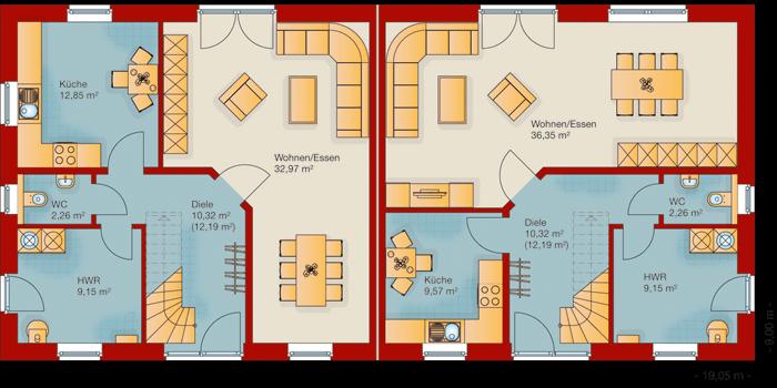 Der Grundriss vom Erdgeschoss vom Doppelhaus 140-1