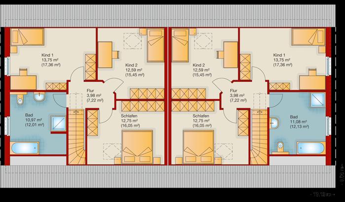 Der Grundriss vom Obergeschoss vom Doppelhaus 140-1