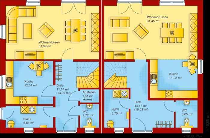 Der Grundriss vom Erdgeschoss vom Doppelhaus 140-2