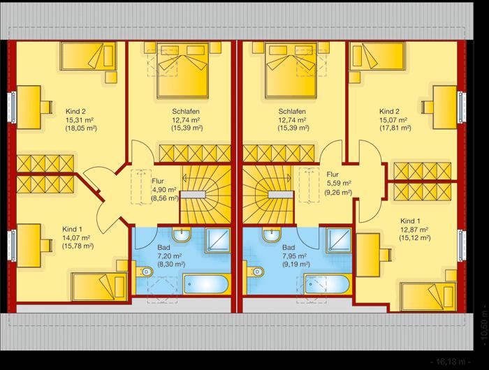 Der Grundriss vom Obergeschoss vom Doppelhaus 140-2