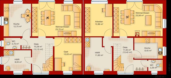 Der Grundriss vom Erdgeschoss vom Doppelhaus 150