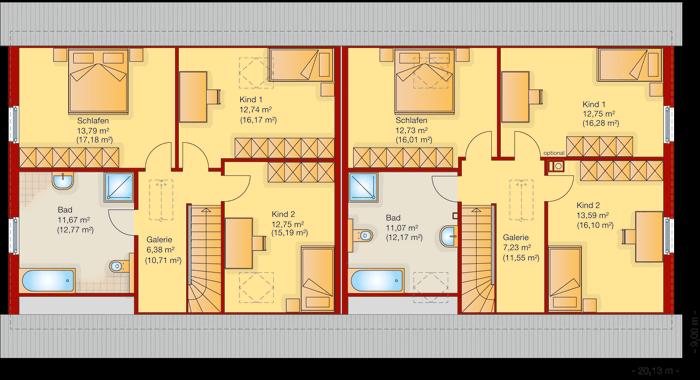 Der Grundriss vom Obergeschoss vom Doppelhaus 150