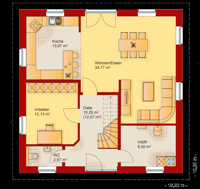 Der Grundriss vom Erdgeschoss der Villa Toskana 150
