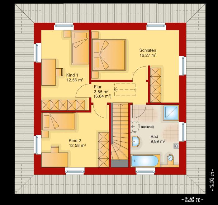 Der Grundriss vom Obergeschoss der Villa Toskana 150