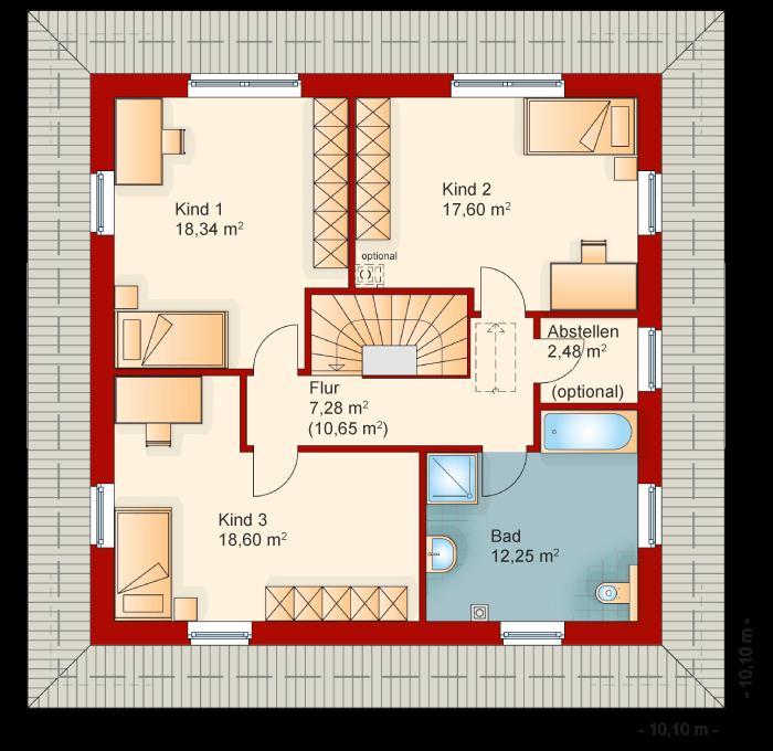 Der Grundriss vom Obergeschoss der Villa Toskana 200