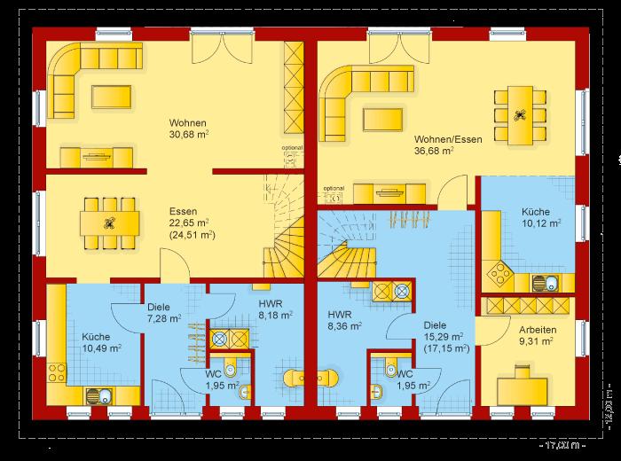 Der Grundriss vom Erdgeschoss der Doppelhaushälfte von der Villa Toskana 150