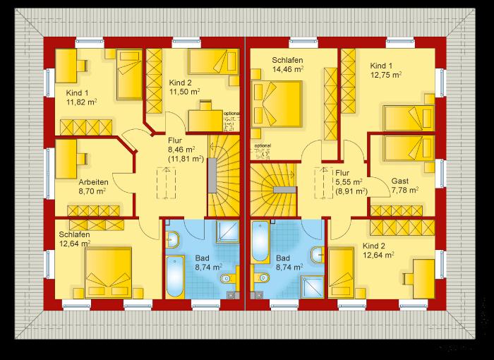 Der Grundriss vom Obergeschoss der Doppelhaushälfte von der Villa Toskana 150