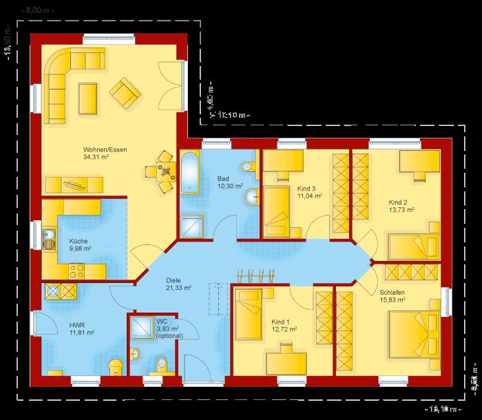 Der Grundriss vom Winkelbungalow 145