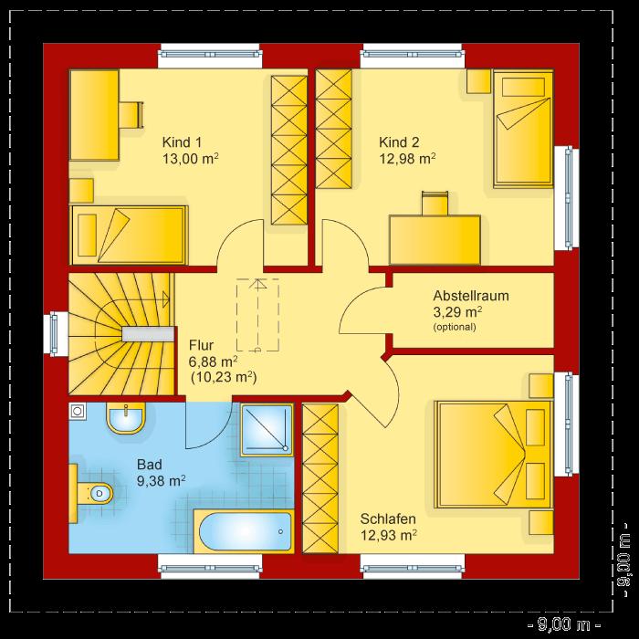 Der Grundriss vom Obergeschoss der Stadtvilla 130