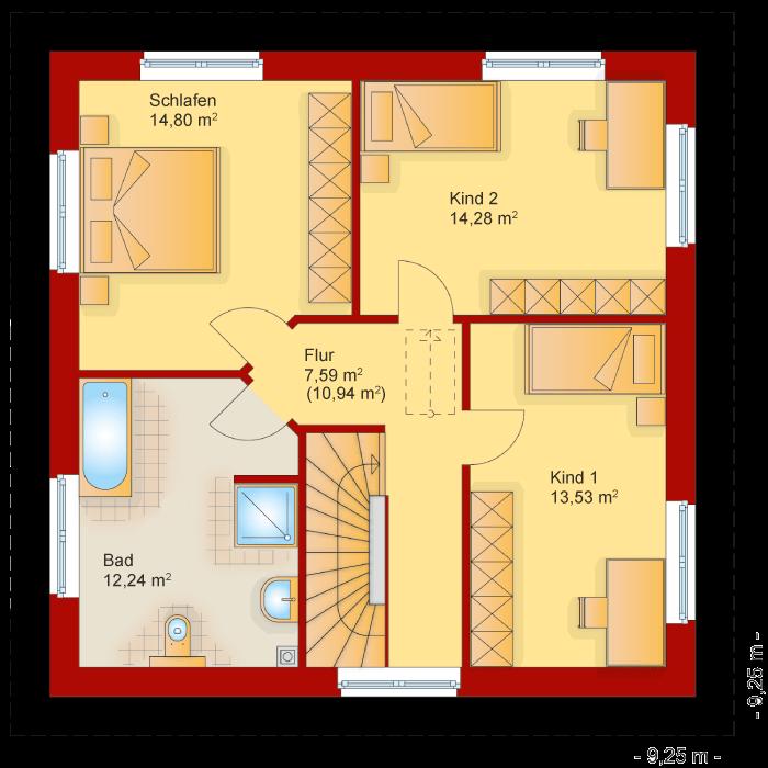 Der Grundriss vom Obergeschoss der Stadtvilla 135
