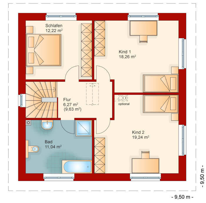 Der Grundriss vom Obergeschoss der Stadtvilla 145
