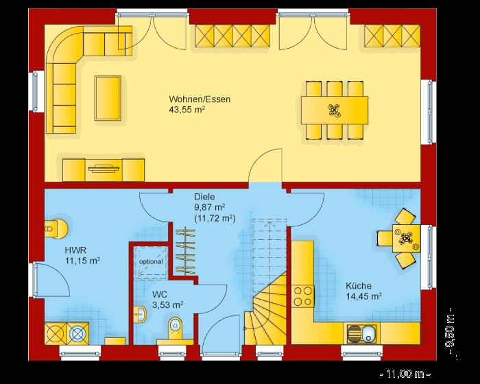 Der Grundriss vom Erdgeschoss der Stadtvilla 170