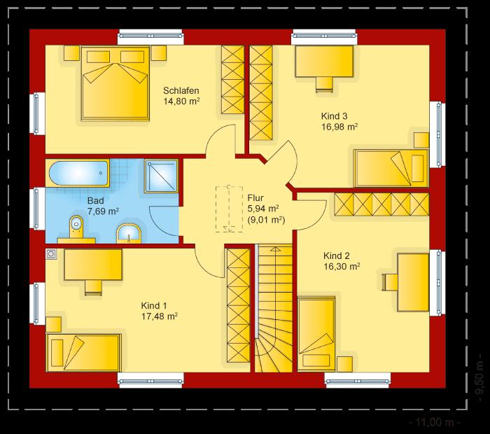 Der Grundriss vom Obergeschoss der Stadtvilla 170