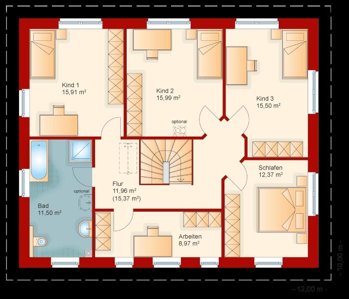 Der Grundriss vom Obergeschoss der Stadtvilla 195