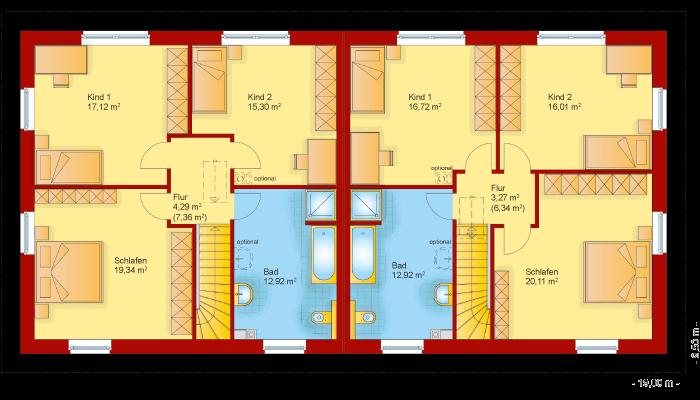 Der Grundriss vom Obergeschoss der Stadtvilla 170 als Doppelhaus